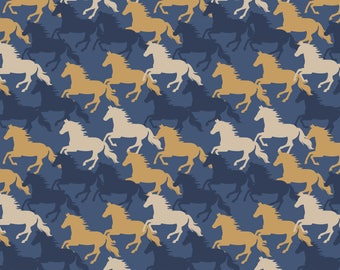 A229.2 - Farley Mount Horse Gallop On Dark Blue Lewis & Irene Patchwork Quilting Dressmaking Fabric