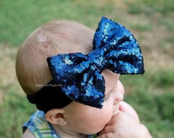 Baby headbands, navy blue sequin bow, infant head wrap, sparkle bow, 1st birthday, baby girl headband, baby bows, navy headband