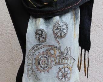 Nuno Felted scarf wool shawl felted shawl felt scarf wool scarf merino wool silk felting art steampunk style batik