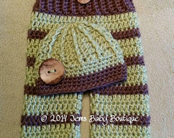 Adorable Little Guy Green and Taupe Trunewborn Boy Crochet pant & beanie set, Made to Order,   Photo prop set