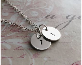 Two Disc Necklace - Silver Initial Necklace - Hand Stamped 2 Initial Disc Necklace - Personalized Necklace for Mom - Customized Necklace