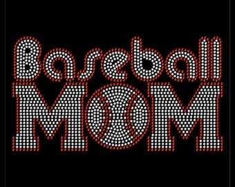 Baseball Outline Sport Team Mom Rhinestone Iron On Transfer Hotfix Bling
