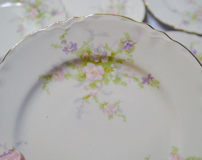 Vintage Homer Laughlin Virginia Rose Dessert or Pie Plate Set of 7 Pink Purple Flowers Vintage China Replacement USA PanchosPorch