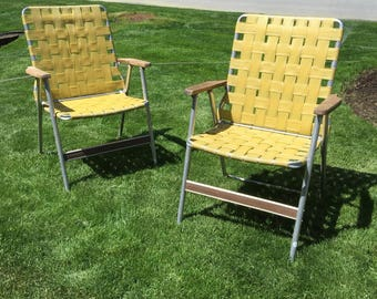 Aluminum pair of webbed lawn chairs