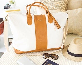 Personalized Faux Leather Weekender Tote (CC2321BN)