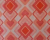 70s orange red fabric, unused curtain fabric, hippie style
