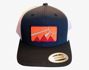 Adult hiking hat. Curved Brim. Snap back. I love the mountains. Tetons hat.