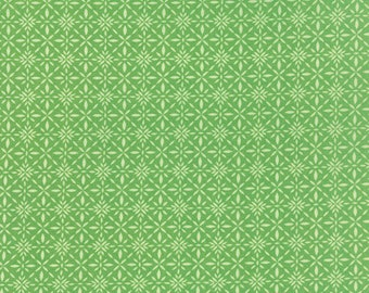 SOLSTICE - Equinox in Laurel Green - Geometric Poinsettia Winter Cotton Quilt Fabric - Kate Spain for Moda Fabrics - 27187-23 (W3949)