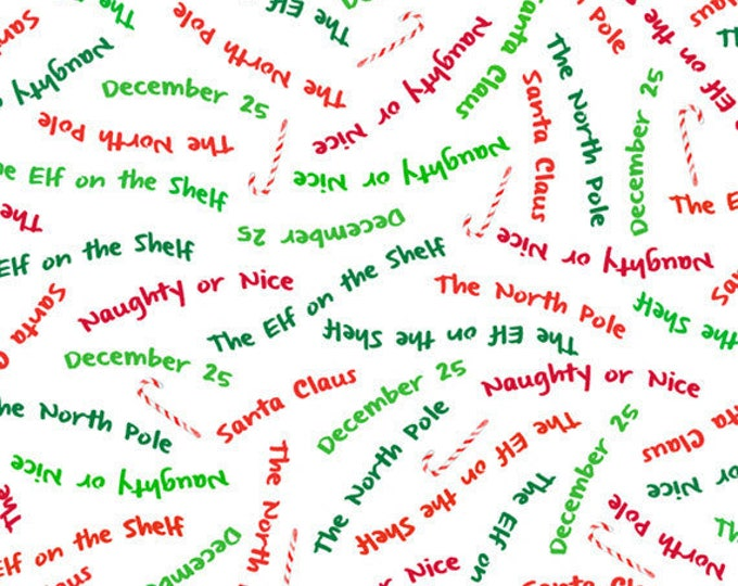 """25"""" REMNANT More Elf on the Shelf - Word Toss in White - Cotton Quilt Fabric - from Quilting Treasures (W1982)"""