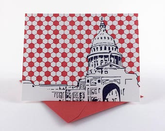 Austin Letterpress Card | Texas State Capitol Building | navy & red single blank card with envelope