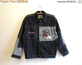 ON SALE Mens Black Denim Jacket Appliqued Long Sleeves Jeans Blazer Large Size