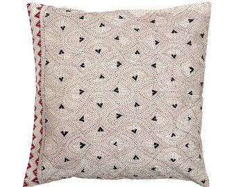 Embroidered Bengali CUSHION COVER - Richly Embroidered Geometric design