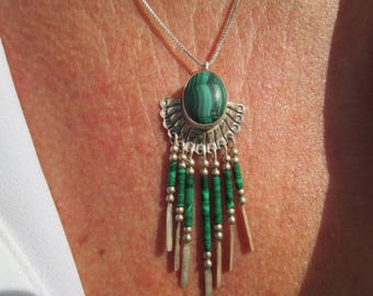 Malachite and Sterling Silver Pendant Necklace