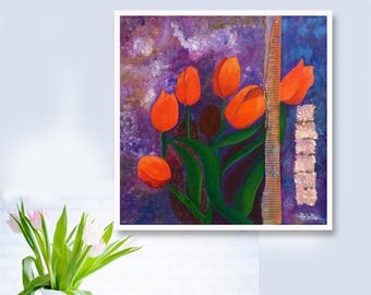 Red tulips wall decor Floral painting Original painting Tulip wall art for home and office decor Modern painting Tulips art