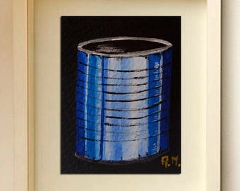 Tin can art ACEO cards Original acrylic painting Original ACEO Collector art card Acrylic ACEO