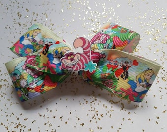 """Alice in wonderland  boutique bow 4"""" Cheshire cat"""