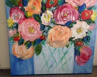 """New work!   still life """" market flowers14by14"""