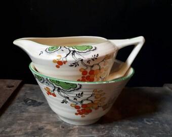 Crown Ducal Art Deco creamer set, milk jug and sugar bowl, 1930s china, vintage creamer set, vintage china, kitchenalia, Art deco china