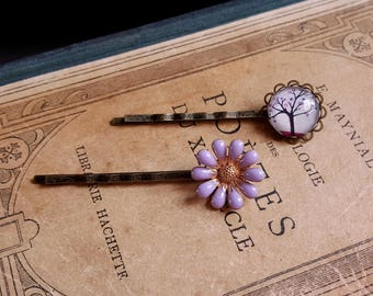 Set of 2 bobby hair pin Purple daisy Lavender flower Cabochon hair pin Tree hair clip