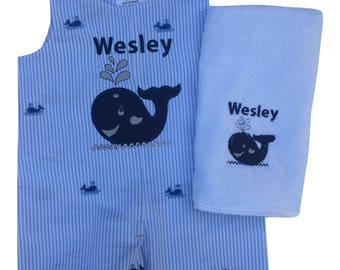 Personalized Baby Shower Gift  Baby Boy Shower Gift Set  Perdinalized Burp  Cloth