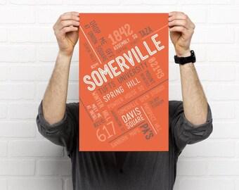 Somerville // Art Print // Home Decor // Townie Poster // Gift Idea // Massachusetts //MA