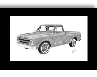 Pencil drawing of a 1967 Chevrolet Pick Up