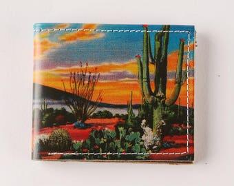 cactus sunset wallet - mini wallet - Leather wallet - mens wallet - bifold wallet - compact wallet - front pocket wallet - womens wallet