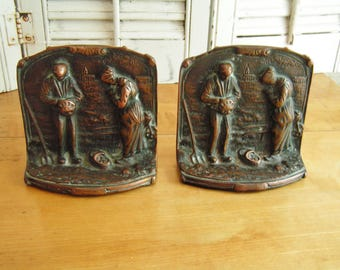 Vintage Copper Finish Bookends Book Ends Depicting Two Peasants Taking a Break From Their Work in the Field to Say the Angelus Prayer