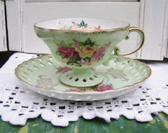 Vintage Cottage Chic Roses Footed Scalloped and Laced Tea Cup and Saucer Set in Light Green Made in Japan