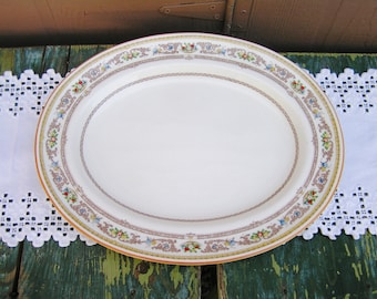 "Vintage ROYAL DOULTON China GLOUCESTER Pattern Oval Serving Platter 15"" Hand Painted 50s Mid Century Platter"
