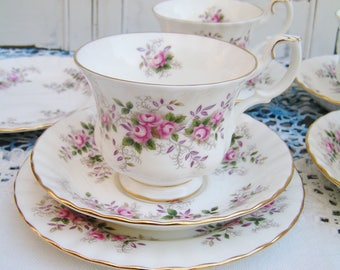 Vintage Royal Albert Teacup Trio Teacup Saucer Dessert Plate Bread and Butter Plate Lavender Rose Circa 1960s Tea Party Tea Cup Set
