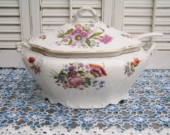 Antique Vintage Colorful Transferware Floral Soup Tureen Covered Dish with Ladle Colorful Flowers Ironstone Soup Tureen