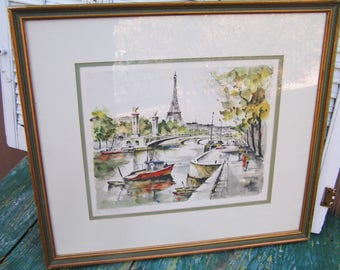 Vintage Framed and Matted G. Lelong Hand Painted Lithograph Parisian Scene with Eiffel Tower 40s Paris Street Water Scene