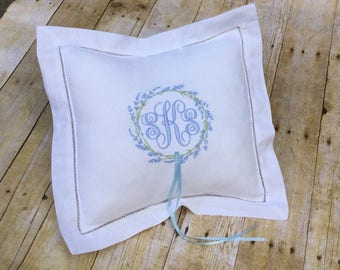 Monogrammed Ring Bearer Pillow/ Linen Pillow/ Embroidered /Personalized