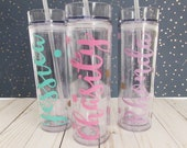 Personalized Tumbler - Monogram Tumbler - Custom Cup - Wedding Party Favors - Bridesmaid Tumblers - Tumbler with Straw - Water bottle