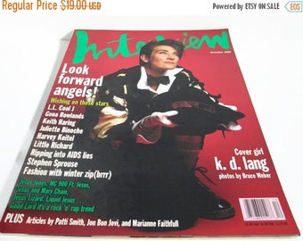 Christmas in July Sale KD Lang, Andy Warhol Interview Magazine, December 1992, Celebrity Mag Pop Culture, Photography Bruce Weber, Fashion A