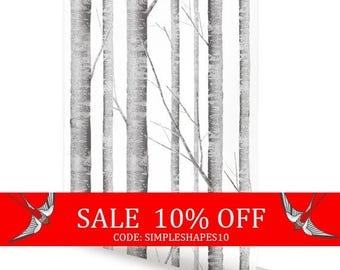 Summer Sale - Birch Tree Wallpaper Removable Peel & Stick Fabric Wallpaper Repositionable