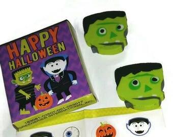 FRANKENSTEIN Eraser Set of 2 Cute Mini Halloween Stickers Kawaii Vampire Monster Halloween Stationery Set Miniature Dracula Pumpkin Stickers