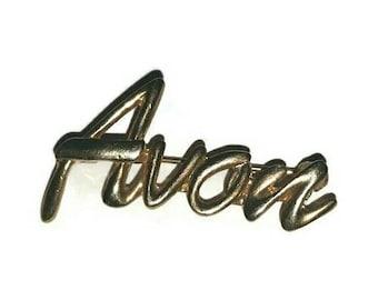 Mid Century AVON Signature Lapel Pin 60s Avon Rep Brooch Sales Representative Gold Award Broach Vintage Jewelry Collector Jewellery Gift 70s