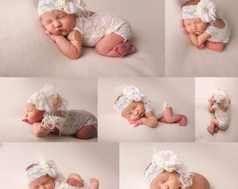 Lace Newborn  V BACK Romper photo prop with matching feather headband