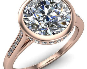 Camilla Round Forever One Hearts & Arrows Moissanite Bezel Set Diamond Halo with Cathedral U Shaped Gallery Ring