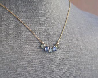 Aquamarine and Blue Kyanite Necklace - Gold Filled - Minimal Necklace