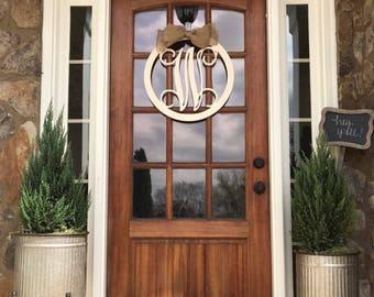 Monogram Door Hanger, Monogram Door Wreath, Initial Door Hanger, Wooden Monogram, Wooden Letters Wall Hanging, Wedding gift