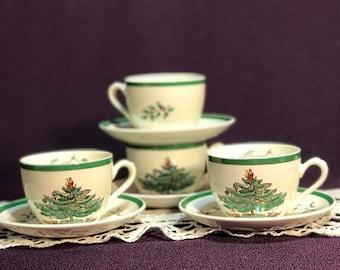 Spode Christmas Tree 4 Cups and 4 Saucers England