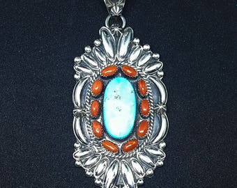 Sterling Silver Pendant With Sleeping Beauty and Coral