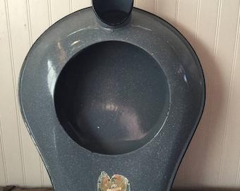 Jones Porcelain Enamel Bed Pan Urinal  Blue White Grey Speckled Granite Ware Pot