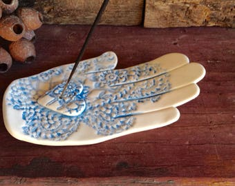 Ceramic Incense Burner, Hand, Light Blue and White with Lace Texture, 17cm long