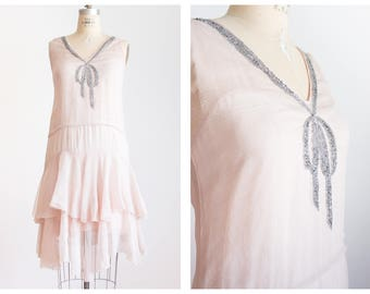 1920s pale pink rhinestone bow flapper dress | vintage dress | size small medium
