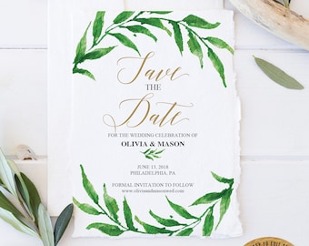 Save the Date Template -  Printable Save The Dates - Wedding Invitations - Save Our Date - Wedding - Editable Instant Download - Greenery