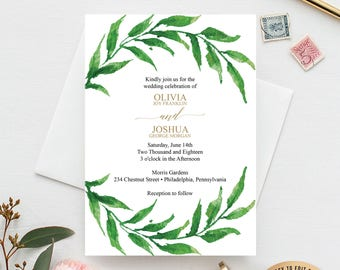 Greenery Wedding Invitation Template - Wedding Invite - Wedding Invitation Set - Wedding Template - Wedding Suite - PDF Instant Download
